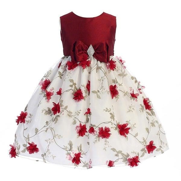Crayon-Kids-Little-Girls-Red-White-Flower-Brooch-Bow-Christmas-Dress-2-6