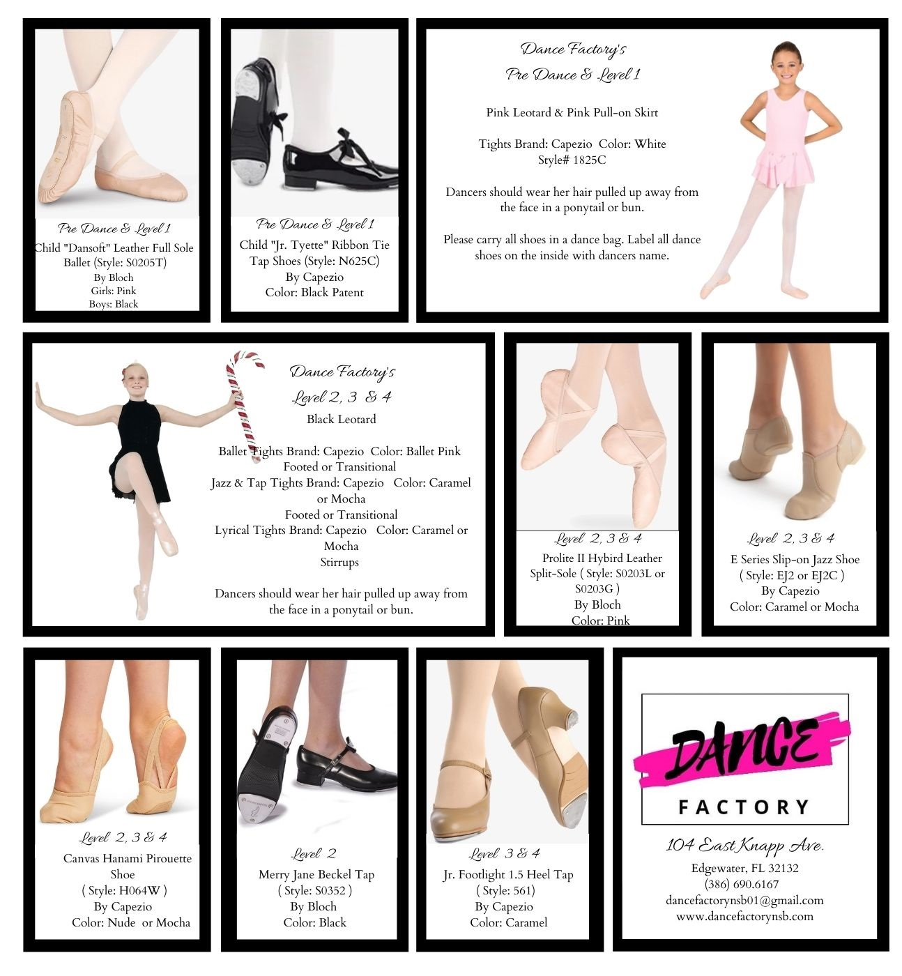 Pre Dance & Level 1 Child Daisy Leather Full Sole Ballet Shoes (Style 205C) By Capezio Girls Ballet Pink Boys Black (1)